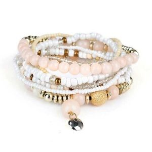 Jewelry - 3/$30 7 Piece Gold, Pink & White Beaded Bracelets
